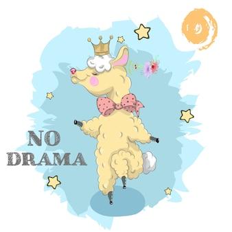 Śliczna księżniczka lama kreskówki