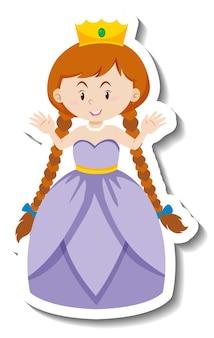 Śliczna księżniczka w fioletowej sukience naklejka z postacią z kreskówek