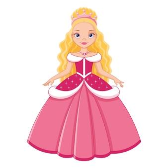 Śliczna księżniczka w różowej sukience