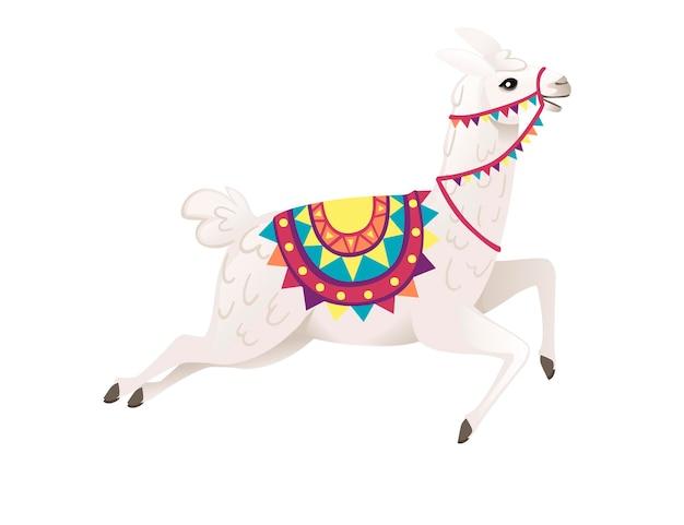 Śliczna lama bieganie i noszenie ozdobne siodło z wzorami kreskówka zwierzę projekt płaski wektor ilustracja na białym tle widok z boku.