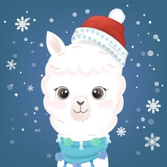 Śliczna lama i śnieg ręcznie rysowane akwarela ilustracja