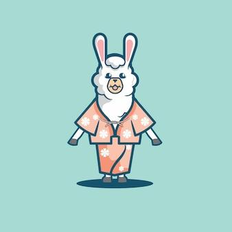 Śliczna lama kreskówka używa japońskiego kimona