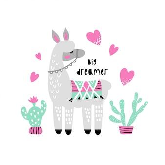 Śliczna lama z kaktusem.