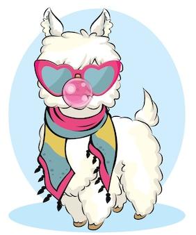 Śliczna lama z okularami przeciwsłonecznymi i gumą balonową