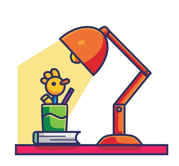 Śliczna Lampka Do Czytania Na Biurko. Koncepcja Kreskówka Obiekt Ilustracja Na Białym Tle. Płaski Styl Nadaje Się Do Naklejki Icon Design Premium Logo Vector Premium Wektorów