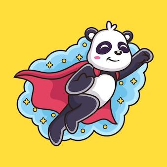 Śliczna latająca panda kreskówka.