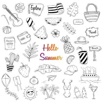 Śliczna lato ilustracja z doodle lub ręka rysującym stylem