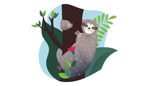 Śliczna leniwa lenistwo śpi na gałęzi drzewa tropikalnego. styl kreskówkowy.