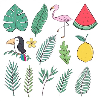 Śliczna letnia kolekcja w kolorowym stylu doodle
