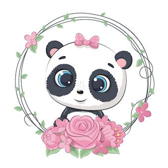 Śliczna letnia panda dla dzieci z wieńcem kwiatowym. ilustracja na chrzciny, kartkę z życzeniami, zaproszenie na imprezę, nadruk koszulki z modnymi ubraniami