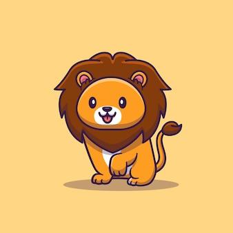 Śliczna lew kreskówki ikony ilustracja. koncepcja ikona zwierzę na białym tle. płaski styl kreskówek