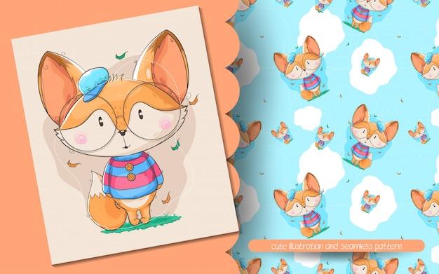 Śliczna lis ilustracja i bezszwowy wzór