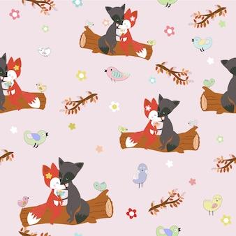 Śliczna lis para w miłości w lasowym bezszwowym wzorze.