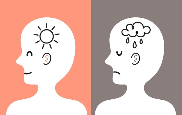 Śliczna ludzka głowa w profilu ze słońcem i chmurą deszczową w środku