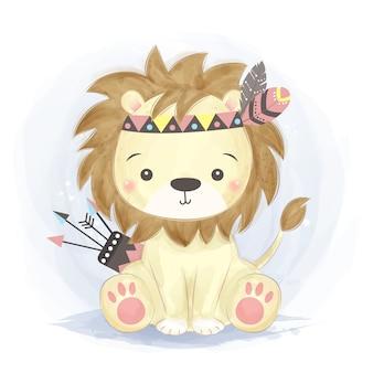 Śliczna lwa boho ilustracja