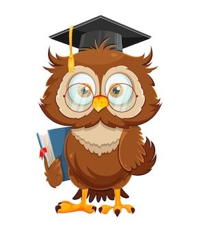 Śliczna mądra sowa trzyma książkę śmieszna sowa postać z kreskówki powrót do koncepcji szkoły