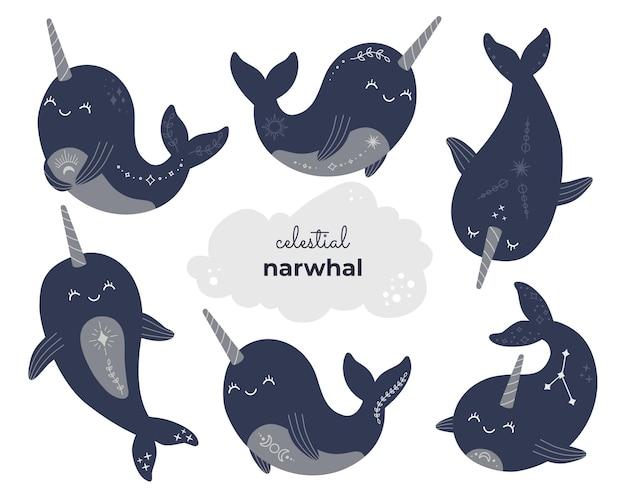 Śliczna magiczna kolekcja narwalów, mistyczny niebiański zestaw wielorybów.