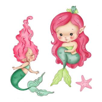 Śliczna mała akwareli syrenka z czerwonym włosy i zielonym ogonem na białym tle