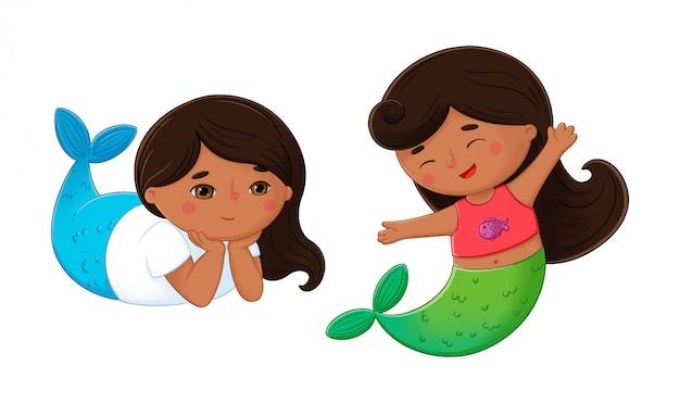Śliczna mała czarna z włosami syrenki ilustracja. cyfrowa kolorowa podwodna bajka postać z kreskówki
