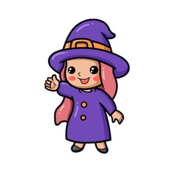 Śliczna mała czarownica dziewczyna kreskówka macha ręką