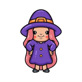 Śliczna mała czarownica dziewczyna kreskówka pozowanie