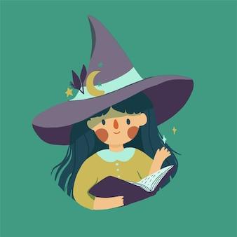Śliczna mała czarownica w magicznym kapeluszu
