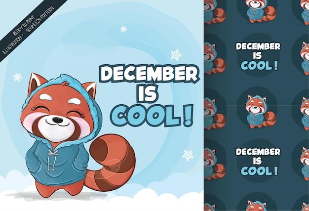 Śliczna mała czerwona panda szczęśliwa na ilustracji śniegu zestaw ilustracji i wzorów