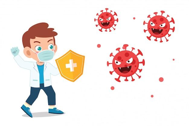 Śliczna mała dziecko chłopiec walczy przeciw wirusowi korona