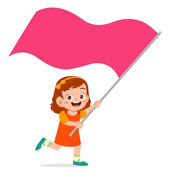 Śliczna mała dziewczynka biegnie i trzyma flagę