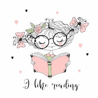 Śliczna mała dziewczynka czyta książkę. lubię czytać. doodle styl.