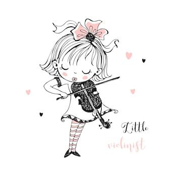 Śliczna mała dziewczynka gra na skrzypcach.