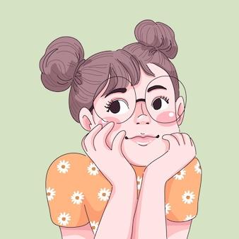 Śliczna mała dziewczynka ilustracja portret