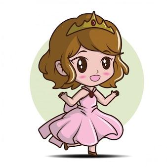 Śliczna mała dziewczynka jest ubranym princess., bajki kreskówki pojęcie.