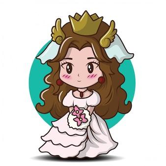 Śliczna mała dziewczynka jest ubranym princess., przewiewny bajki kreskówki pojęcie.