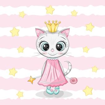 Śliczna mała dziewczynka kot ze złotą koroną