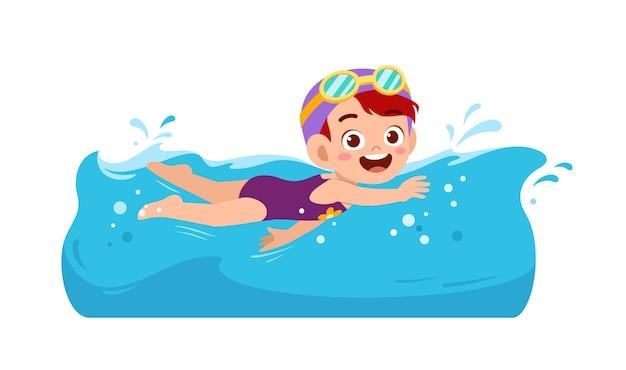 Śliczna mała dziewczynka pływa pod wodą na letnie wakacje
