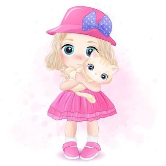 Śliczna mała dziewczynka ściska kiciuni ilustrację