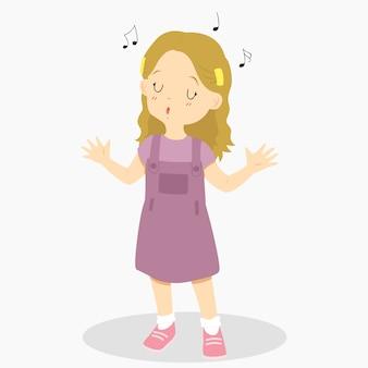 Śliczna mała dziewczynka śpiewa.