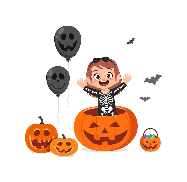 Śliczna mała dziewczynka świętuje halloween nosić kostium szkieletu