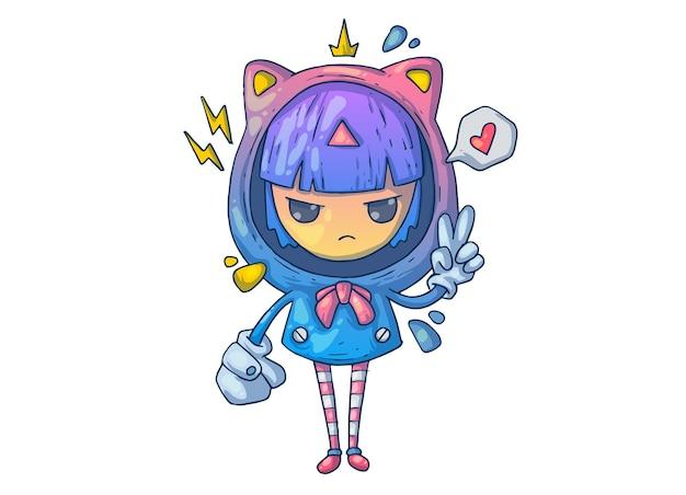 Śliczna mała dziewczynka ubrana jak kot. ilustracja kreatywnych kreskówek.