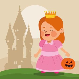 Śliczna mała dziewczynka ubrana jak postać księżniczki i projekt ilustracji wektorowych zamku