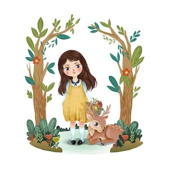 Śliczna mała dziewczynka z jeleniem