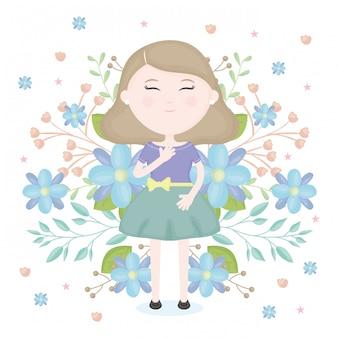 Śliczna mała dziewczynka z kwiecistym dekoracja charakterem