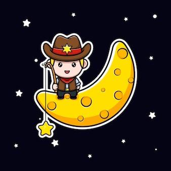 Śliczna mała gwiazda kowbojska z ilustracji maskotki księżyca