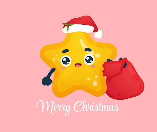 Śliczna mała gwiazda niosąca worek na prezenty na święta bożego narodzenia premium wektorów