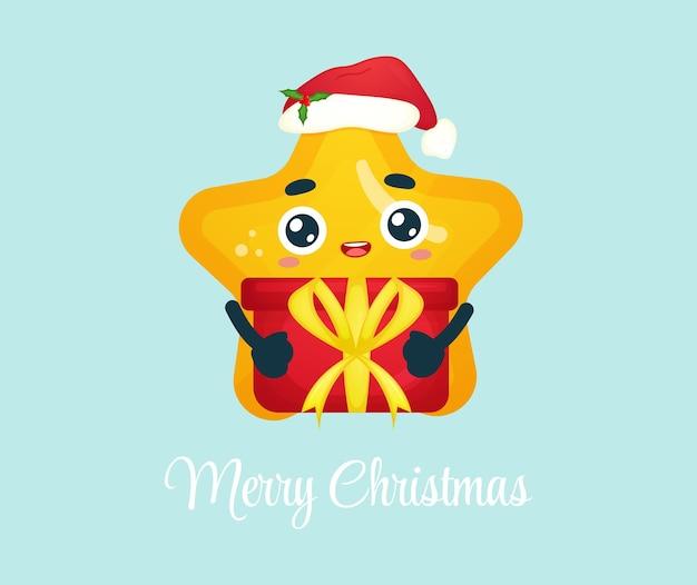 Śliczna mała gwiazda przytulająca świąteczny prezent na wesołą ilustrację świąteczną premium wektorów