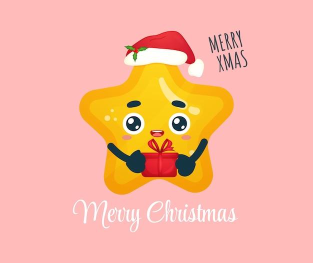 Śliczna mała gwiazda trzymająca prezent z kapeluszem świętego mikołaja na wesołych świąt bożego narodzenia ilustracji premium wektorów