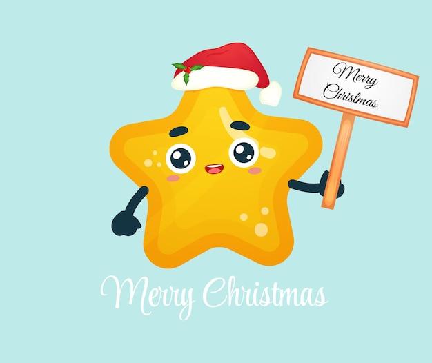 Śliczna mała gwiazdka trzymająca boże narodzenie znak z kapeluszem świętego mikołaja na wesołych świąt bożego narodzenia ilustracja premium wektorów