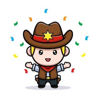 Śliczna mała ilustracja maskotka kowboja