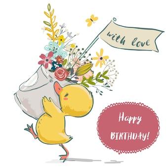 Śliczna mała kaczka urodzinowa z wieńcem kwiatów